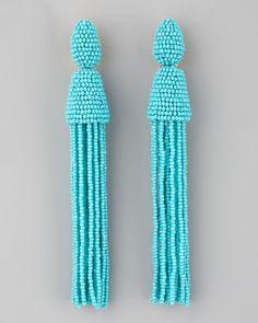 Oscar de la Renta Long Beaded Tassel Earrings, $395