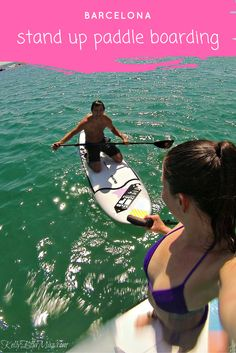 Stand up paddle boarding in Barcelona, Spain! Click the image to read all about our favourite activities in Barcelona. #barcelona