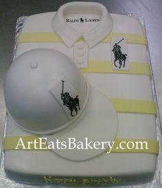Men's white and yellow striped polo shirt birthday cake design with edible polo pony logos Butter Icing Cake Designs, Fondant Cake Designs, Fondant Cakes, Cake Design For Men, Louis Vuitton Kimono, Polo Shirt Design, Shirt Cake, Doughnut Cake, Cakes For Men
