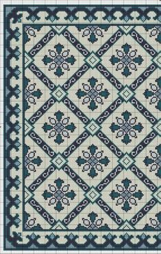 (5) Gallery.ru / Фото #3 - Blue Tile Carpet and Pillow - azteca