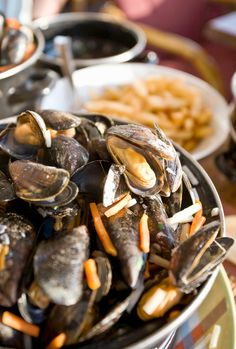 Mussels, fleshier and larger than French ones. Cooked with white wine broth or in beer... the unofficial national Belgium national dish