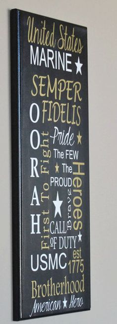 Oorah Word Art Sign Black, Gold And White Made Of Wood - USMC Call Of Duty Sign - The Few The Proud Wall Hanging - Marine Corps Family Gift by Gratefulheartdesign on Etsy