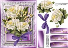 Beautiful White roses on lilac frame  on Craftsuprint designed by Ceredwyn Macrae - A lovely card to make and give to anyone on there birthday Beautiful White roses in a lilac frame a lovely card has three greeting tags and a blank one for you to choose the sentiment, - Now available for download!