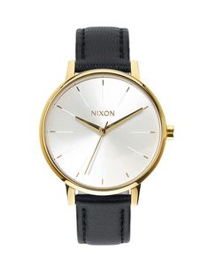 Hodinky Nixon Kensington Leather gold white black 5077b4c730
