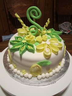 First attempt at quilling with Fondant/Gumpaste.  Lemon cake with Lemon Curd filling and Lemon Cream cheese buttercream