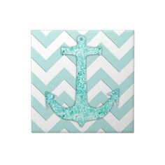 Glitter nautical anchor, teal blue chevron pattern ceramic tiles.  Use as a coaster, trivet or add a backsplash or border to your beach themed room.