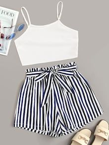 Shop Solid Cami Top With Striped Paper Bag Belted Shorts at ROMWE, discover more fashion styles online. Cute Girl Outfits, Teenage Outfits, Cute Summer Outfits, Cute Casual Outfits, Outfits For Teens, Summer Shorts, Casual Shorts, Fashionable Outfits, Matching Outfits