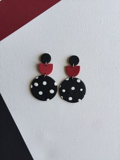 Excited to share this item from my shop: Maxi Dangles Polymer Clay Earrings Dangle Statement Earrings Maxi earrings Art Jewelry - Red Black White Polka Dots - Holi Colors Design Diy Clay Earrings, Bar Stud Earrings, Polymer Clay Jewelry, Statement Earrings, Clay Beads, Jewelry Crafts, Jewelry Art, Handmade Jewelry, Silver Jewelry