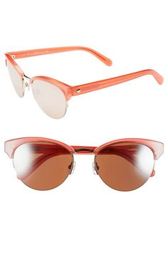 Love the coral rim on these 1950's style cat-eye sunglasses | Kate Spade
