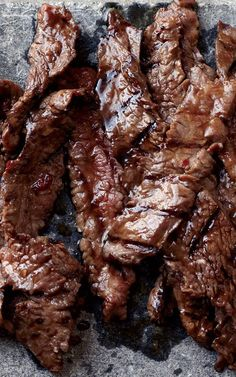 This succulent recipe is based on bulgogi, a classic Korean dish of sliced beef that's marinated in soy sauce, sugar, sesame oil and garlic, then grilled.