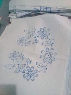 Kurti Embroidery Design, Bead Embroidery Patterns, Hand Embroidery Stitches, Silk Ribbon Embroidery, Hand Embroidery Designs, Embroidery Applique, Cross Stitch Embroidery, Kutch Work Designs, Mehndi Art Designs
