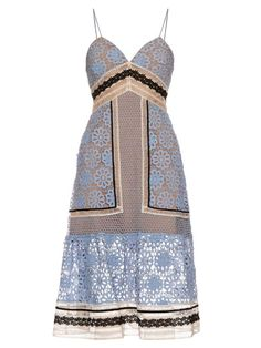 SELF-PORTRAIT Floral Guipure-Lace Midi Dress. #self-portrait #cloth #dress