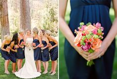 Navy blue bridesmaids with colourful flowers #wedding