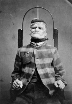Man in restraint chair; by H. Clarke; 1869  Wakefield Asylum