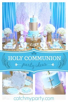 Cass Creations NY 's Holy communion / Angel / Heaven - Angel wings first holy communion at Catch My Party Christening Party, Baptism Party, Baptism Ideas, Baptism Favors, Theme Parties, Party Themes, Birthday Parties, Party Ideas, Baptism Decorations