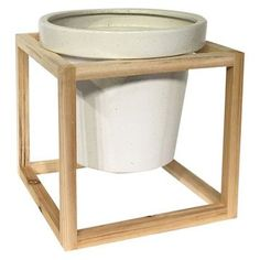 Stoneware Planter with Wood Frame (10.8