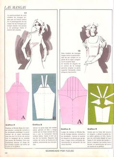 sleeves, not in English but pics are good Sewing Patterns Free, Vintage Patterns, Sewing Tutorials, Clothing Patterns, Sewing Projects, Pattern Cutting, Pattern Making, Sewing Sleeves, Patron Vintage