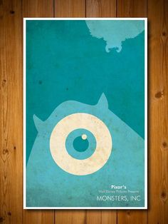 Minimalist Disney Pixar Poster Monsters Inc Pixar Poster, Disney Movie Posters, Movie Poster Art, Wall E, New Wall, Disney Minimalist, Minimalist Poster, Disney Monsters, Disney Pixar