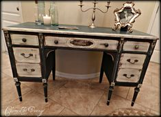 Just bought an antique cherry wood (needs new finish) Sligh brand desk for a steal.and currently rehabbing it. The lines look like this desk. Paint is a little ornate but good inspiration for my desk. Will probably go in master bdrm. Shabby Chic Bedroom Furniture, Shabby Chic Desk, Shabby Chic Bedrooms, Shabby Chic Homes, Diy Furniture Projects, Furniture Makeover, Cool Furniture, Painted Furniture, Desk Makeover
