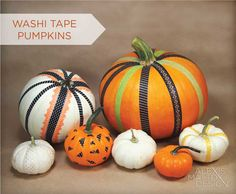 Bright and Fun Washi Tape Pumpkin Tutorial by Alexis Mattox Design. Check it out on our blog today!