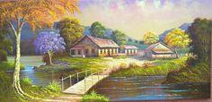 pintura em tela a oleo ile ilgili görsel sonucu Arte Country, Cottage Art, House Landscape, Watercolor Artists, Art Background, Mobile Wallpaper, House Painting, Monet, Architecture Art