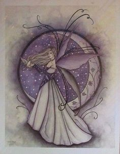 "NEW Jessica Galbreth Fantasy Fairy Art Print ""Winter Moon"" Faery   8.5"" x 11"""