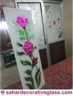 Glass Etching Designs, Glass Painting Designs, Paint Designs, Etched Glass Door, Etched Mirror, Window Glass Design, Pooja Room Design, Wooden Door Design, Crystal Design
