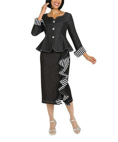 7639dd0e623 This Black Stripe Ruffle Peplum Blazer  amp  Pencil Skirt - Women  amp  Plus  is