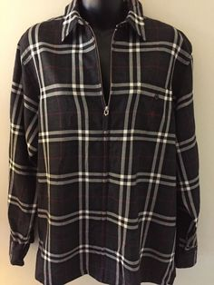 Lauren Ralph Lauren Womens Size Large Plaid Wool Lightweight Jacket Zipper #LaurenbyRalphLauren #BasicJacket