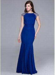 Trumpet/Mermaid Scoop Neck Floor-Length Chiffon Evening Dress With Beading (017025435) - JJsHouse