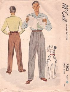 1940s McCall Mens Pants Pattern Slacks Trousers by mbchills