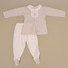 100% Cotton Baby Long Sleeve White Collar Two Piece Footy Playsuit in Beige and White Stripes