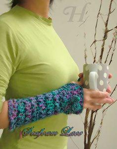 *Seafoam Lace* Silk fingerless gloves