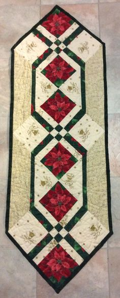 Christmas table runner, ruler quilted.