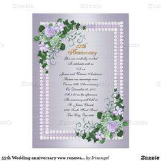 55th Wedding anniversary vow renewal Lavender 5x7 Paper Invitation Card
