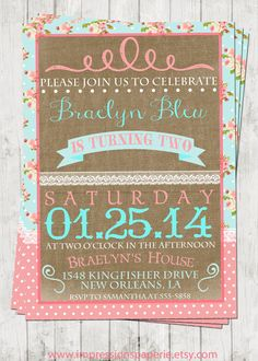 Vintage Shabby - A Customizable Birthday Invitation by Best Impressions Paperie | Shabby Chic Party | Lace and Burlap | Pink and Aqua
