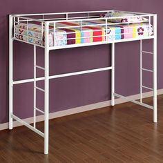 Beloved for its compact foot print, this loft bed is a necessity for your children's bedroom. The sturdy, steel frame promises stability and function. Features full length guardrails and two integrated ladders.