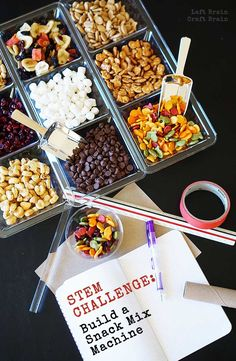 Challenge - Build a Snack Mix Machine Do some delicious engineering with this fun snack mix machine STEM challenge. It's a perfect activity for scouts or school STEM nights.The Challenge The Challenge may refer to: Steam Activities, Science Activities, Science Experiments, Science Lessons, Science Ideas, Science Education, Engineering Projects, Stem Projects, Engineering Challenges