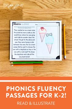 These read & illustrate phonics passages and the perfect way for k-2 students to practice fluency! There are passages and sentences to provide for differentiation. Try the FREE one over on the blog!   #firstgradephonics #secondgradephonics #phonics #phonicsactivities