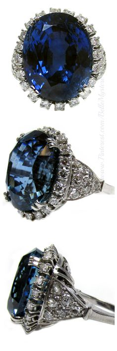 22.41 Carat Burma Sapphire No Heat Diamond Platinum Ring | La Beℓℓe ℳystère