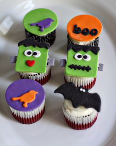 Halloween Fondant Halloween and Frankenstein Toppers for Decorating Cupcakes, Cookies and Other Halloweenie Treats. $20.00, via Etsy.