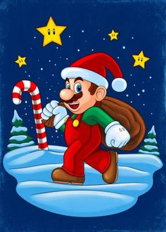 'Mario Xmas' Photographic Print by Remus Brailoiu Christmas Rock, Christmas Images, Christmas Themes, Xmas, Christmas Cartoon Characters, Christmas Cartoons, Santa Cartoon, Christmas Drawing, Christmas Paintings