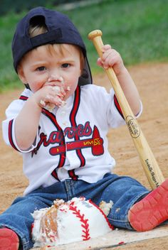 Rhett's first birthday photo shoot baseball field cake smash Atlanta Braves photo cred: Summer Nail Photography