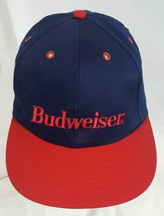 53f3c4fe Budweiser Beer Snapback Hat Anheuser Busch Vintage 90s Blue and Red  Snapback Hat Vintage 90s. Fitted Caps ...