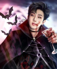 Omo que vampiro lindo. Namjoon, Bts Taehyung, Bts Bangtan Boy, Bts Jimin, Rapmon, Foto Bts, Bts Vampire, Estilo Bad Boy, Bts Halloween