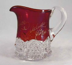 Antique Ruby Flash Glass Souvenir Creamer for A. E. Mellon 1911 Atlantic City, New Jersey