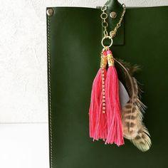 Bag charm with pink tassels. #bahcharm #pinktassels #fadhionitems #handmade #handmadejewelry #ピンクタッセルのバッグチャーム