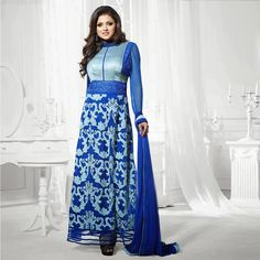 Ravishing And Fashionable Long Blue #AnarkaliSuit With Beautiful Traditional Grace #CraftShopsIndia