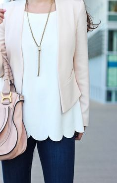 Great combo of pattern and slim coverup. The scalloped bottom of the top is great - and cute fitted jacket. This whole outfit is super cute. Colors and style as well