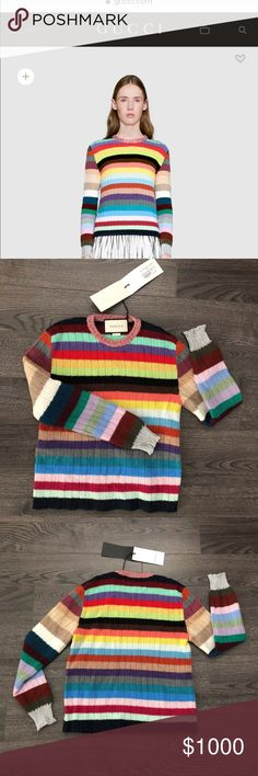 NWT 2017 GUCCI CASHMERE STRIPED SWEATER SMALL 40 Gucci In Stores Now. From the Fall 2017. Gorgeous multicolor Gucci striped cashmere sweater with metallic pink and silver-tone rib knit trim and crew neck. As seen on Alexa Chung.  Retails on the Gucci website right now for $1200  You can find a USED version on the realreal for $925 + 75 shipping so this is the best score you can find for this gem!  Open to reasonable offers and trades  Measurements upon request Gucci Sweaters Crew & Scoop…